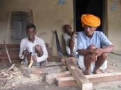 Carpenters in an Indian village