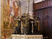 English: The tomb of Christopher Columbus (Seville cathedral, Spain) Français : Tombeau de Christophe Colomb (Cathédrale de Séville, Espagne)