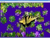 Unfinished jigsaw puzzle screenshot - butterfly on flowers