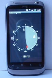 English: A HTC Desire S showing a compass app