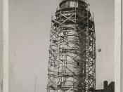 Placing a concrete shell around the tower at Cape Race, Newfoundland and Labrador / Installation d'un voile de béton autour de la tour à cap Race, Terre-Neuve-et-Labrador