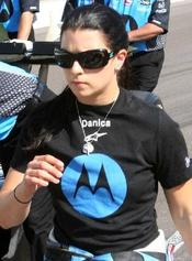 English: Danica Patrick on Pole Day at Indy, 2007. Photo by Tim Wohlford