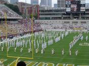 The Georgia Tech Marching Band plays a pregame show at Grant Field inside Bobby Dodd Stadium at Georgia Tech on September 4, 2004. Photo taken by Hillary Lipko and released under CC Attribution 2.5. Category:Georgia Tech Yellow Jackets football