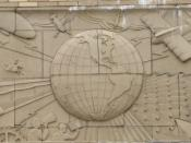 Art Deco mural, old Press-Citizen Building, Iowa City.