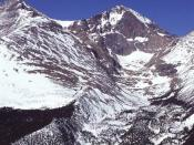 Snowpack accumulation at 14,255 ft. on Longs Peak in Rocky Mountain National Park, Colorado.
