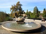 James-Joyce-Plateau fountain at Platzspitz park in Zürich (Switzerland)