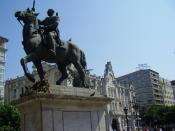 Equestrian statue of Generalissimo Franco in the Plaza del Ayuntamiento (City Hall Plaza) of Santander. It was retired in late 2008.