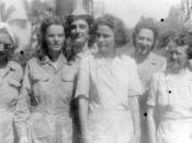English: Army Nurses in Santo Tomas Internment Camp, 1943. Left to right: Bertha Dworsky; Sallie P. Durrett; Earlene Black; Jean Kennedy; Louise Anchieks; Millei Dalton. Picture taken by Japanese.