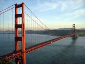 The Golden Gate Bridge and San Francisco, CA at sunset taken from the Marin Headlands