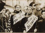Two girls protesting child labour (by calling it child slavery) in the 1909 New York City Labor Day parade.