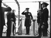 Lieutenant-Colonel Percy Muir McFarlane boarding USS ASTORIA