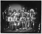 Standing: Red Bear, Young Man Afraid of his Horse, Good Voice, Ring Thunder, Iron Crow, White Tail, Young Spotted Tail. Seated: Yellow Bear, Jack Red Cloud, Big Road, Little Wound, Black Crow, ca. 1860-1880