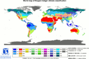 Updated world map of the Köppen-Geiger climate classification.