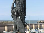 A statue of the Ancient Mariner at Watchet Harbour, unveiled in September 2003 as a tribute to Samuel Taylor Coleridge