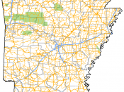 English: Map of the Interstate highways, US Routes, and Arkansas state highways in the state of Arkansas. Also includes national forests (green), military installations (gray) and county lines.
