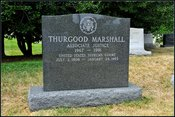 Grave stone of Thurgood Marshall. Justice Marshall is buried in Arlington National Cemetery.