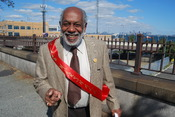 English: Ed Josey, President of the Staten Island branch of the National Association for the Advancement of Colored People (NAACP), marching in a Black Heritage Day parade, Staten Island, 2008.