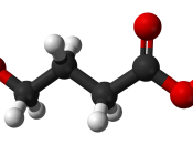 Ball-and-stick model of the GHB molecule. Structure calculated in Spartan '04 Student Edition. Image generated in Accelrys DS Visualizer.