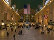 English: A 4 segment Panoramic view of the Grand Central Terminal Main Concourse in New York City, New York, United States. Taken with a Canon 5D and 24-105mm f/4L IS lens.