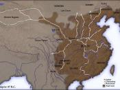 Map of Han Dynasty empire 87 BC, showing the capital Chang'an and the location of all commandery seats. In the Western Regions, a number of pretectorates were Han vassals and under the nominal authority of the Chief Protector of the Western Regions appoin