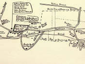 Map of West Peabody, MA, indicating the 20th century location of the house and land owned by John Proctor, who was executed during the Salem witch trials in 1692.