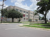 William Franz Elementary School building, New Orleans. View at Pauline & Galvez Streets.