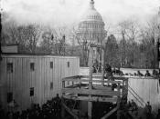 English: The execution of Henry Wirz, commandant of the (Confederate) Andersonville Prison, near the US Capitol moments after the trap door was sprung.