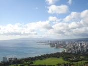 Waikiki Beach and Honolulu taken from the top of Diamond Head crater