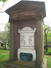 Robert Gould Shaw memorial, created in the 1840s. Brownstone enclosure with ancient classical marble insert and an added 1860s bronze plaque commemorating his grandson Col. Robert Gould Shaw, officer of the Civil War 54th Regiment of African-American sold