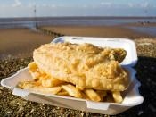 Fish and chips, a popular take-away food of the United Kingdom.
