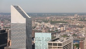 Panoramic view across Queens, New York, taken from Top of the Rock with the Citigroup Center in the foreground.