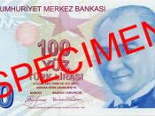 English: Front of 100 Turkish Lira Türkçe: 100 Türk Lirası'nın ön yüzü