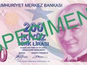 English: Front of 200 Turkish Lira Türkçe: 200 Türk Lirası'nın ön yüzü