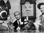 English: Promotional postcard for the television program Captain Kangaroo. Shown from left are: Dancing Bear, Bunny Rabbit, Captain Kangaroo, Grandfather Clock, Mister Moose, and Mister Green Jeans.
