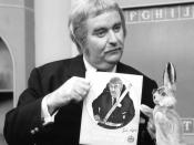Publicity photo of Bob Keeshan as Captain Kangaroo and Bunny Rabbit as part of a seat belt campaign.