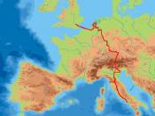 William Beckford's Grand Tour through Europe shown in red.