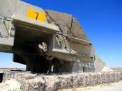 English: Bombed hangar at Ali Al Salem Air Base