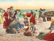 Recreation on California beach, 1st decade of 20th century, from period postcard