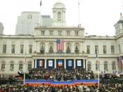 Mayor Michael Bloomberg's second inauguration ceremony on the steps of New York City Hall, 2006.