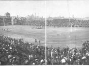 Panoramic photograph of the 1908 Army-Navy Game at Franklin Field. Note the grid pattern of the markings on the field.