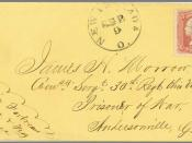 English: Postal History, Civil War POW mail Mailed September 9, 1864 from New Philadelphia, Ohio to Union POW at Andersonville, Georgia prison. Mail from the North to Union POW in Confederate prison was carried via Old Point Comfort to the CSA War dept. i