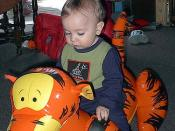 Preston riding on Tigger