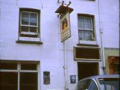 English: The Angel Inn, Aberystwyth, 1969. A popular student pub in Aberystwyth. Its popularity has no doubt outlasted the series one Vauxhall Victor parked outside