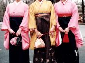 Young Japanese women in traditional graduation garb: furisode and hakama.