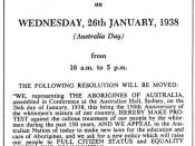 English: Poster announcing details of the Day of Mourning, a protest event conducted by Indigenous Australians in 1938.