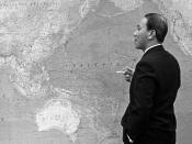 President Nguyen Van Thieu of South Vietnam standing in front of world map, during meeting with Lyndon B. Johnson in Hawaii