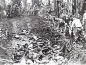 Japanese dead are buried following the Battle of Slater's Knoll 6 April 1945