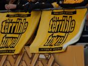 Fans of the Pittsburgh Steelers display their Terrible Towels at a home game.