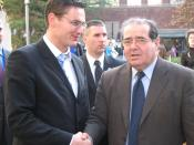 Scalia (right) at the Harvard Law School on November 30, 2006