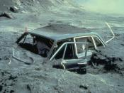 English: Car after Mount St. Helens 1980 Eruption. Reid Blackburn's (photographer, National Geographic, Vancouver Columbian) car, about 10 miles from Mount St. Helens.